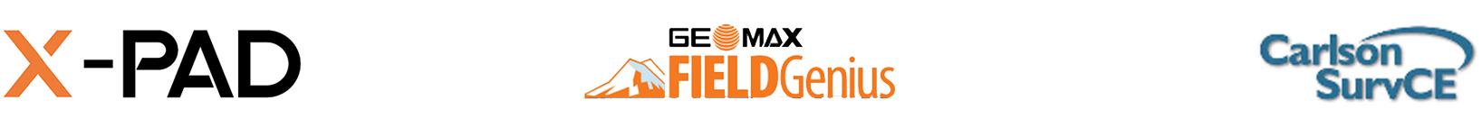Logotipos Xpad, Geomax FieldGenius y Carlson SurvCE